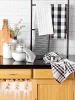 Black Farmhouse Set of 5 Woven Dishtowels - 4
