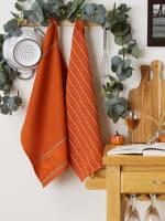 Burnt Orange Harvest Embellished Dishtowel Set/3 - 6