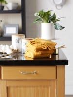 Solid Honey Gold Waffle Terry Set of 4 Dishtowels - 5