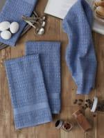Solid Vintage Stonewash Blue Waffle Terry Set of 4 Dishtowels - 7