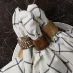 White Wash Finish Wood Band Set of 6 Napkin Rings - 8