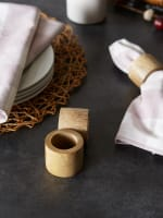 Light Finish Wood Band Set of 6 Napkin Rings - 5