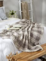 Gray Farmhouse Plush Plaid Throw - 5