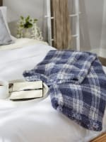 French Blue Farmhouse Plush Plaid Throw - 5