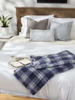 French Blue Farmhouse Plush Plaid Throw - 6