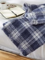 French Blue Farmhouse Plush Plaid Throw - 7