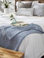 Stonewash Blue & White Waffle Knit Throw - 4