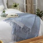 Stonewash Blue & White Waffle Knit Throw - 9