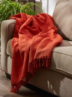 Vintage Red Solid Ribbed Throw - 7
