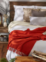 Vintage Red Solid Ribbed Throw - 8