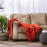 Vintage Red Solid Ribbed Throw - 9