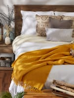 Honey Gold Solid Ribbed Throw - 6