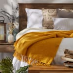Honey Gold Solid Ribbed Throw - 7