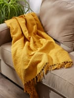 Honey Gold Solid Ribbed Throw - 8
