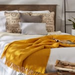 Honey Gold Solid Ribbed Throw - 9