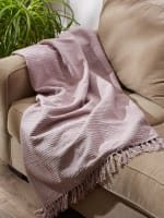 Dusty Lilac Solid Ribbed Throw - 5