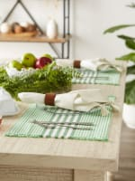 Grass Green Stripes With Fringe Set of 6 Placemat - 3