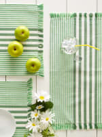 Grass Green Stripes With Fringe Set of 6 Placemat - 5