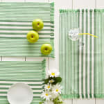 Grass Green Stripes With Fringe Set of 6 Placemat - 8