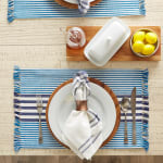 Deep Blue Stripes With Fringe Set of 6 Placemat - 1