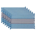 Deep Blue Stripes With Fringe Set of 6 Placemat - 2