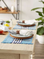 Deep Blue Stripes With Fringe Set of 6 Placemat - 3