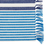 Deep Blue Stripes With Fringe Set of 6 Placemat - 4
