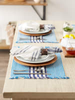 Deep Blue Stripes With Fringe Set of 6 Placemat - 5