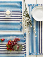 Deep Blue Stripes With Fringe Set of 6 Placemat - 8