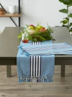 Deep Blue Stripes With Fringe Set of 6 Placemat - 9