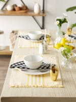 Deep Yellow Stripes With Fringe Set of 6 Placemat - 3