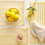 Deep Yellow Stripes With Fringe Set of 6 Placemat - 6