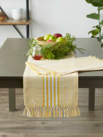 Deep Yellow Stripes With Fringe Set of 6 Placemat - 9