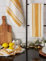 Chef Stripe Honey Gold Blue Set of 3 Dishtowels - 5