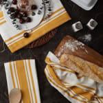 Chef Stripe Honey Gold Blue Set of 3 Dishtowels - 6