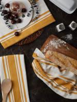 Chef Stripe Honey Gold Blue Set of 3 Dishtowels - 7