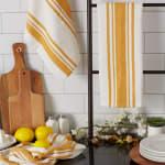 Chef Stripe Honey Gold Blue Set of 3 Dishtowels - 8