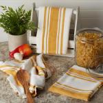 Chef Stripe Honey Gold Blue Set of 3 Dishtowels - 9