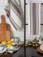 Chef Stripe Gray Blue Set of 3 Dishtowels - 4
