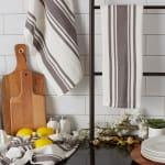 Chef Stripe Gray Blue Set of 3 Dishtowels - 8
