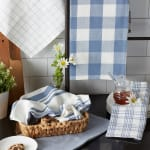 Asst Stonewash Blue Everyday Set of 5 Dishtowels - 8