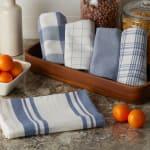 Asst Stonewash Blue Everyday Set of 5 Dishtowels - 9