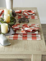 Buffalo Check Vintage Red Ribbed Set of 6 Placemats - 2