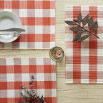 Buffalo Check Vintage Red Ribbed Set of 6 Placemats - 8