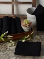 Black Recycled Cotton Waffle Set of 6 Dishtowels - 9