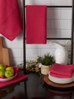 Pink Recycled Cotton Waffle Set of 6 Dishtowels - 5