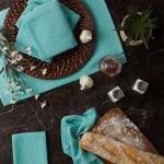Aqua Recycled Cotton Waffle Set of 6 Dishtowels - 9