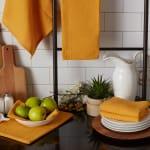 Honey Gold Recycled Cotton Waffle Set of 6 Dishtowels - 7