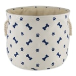 Blue Paw Bone Nautical Polyester Round Medium Pet Storage Bin - 2