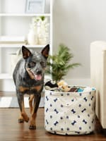Blue Paw Bone Nautical Polyester Round Medium Pet Storage Bin - 4